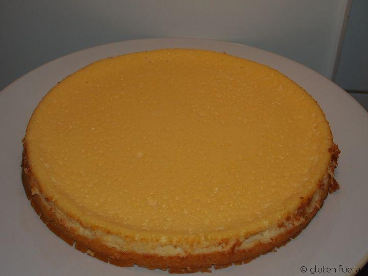 Pastel de queso para celiacos antes de poner la mermelada